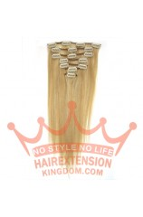 22 Inches 7 pcs Clips on Human Hair Extensions#27/613